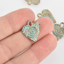 5 Gold Heart Charms, Blue Green Verdigris Patina, Valentines Day, 17mm, chs6652