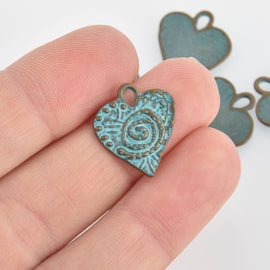 5 Bronze Heart Charms, Blue Green Verdigris Patina, Valentines Day, 17mm, chs6653