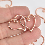 4 Open Heart Charms, Copper Rose Gold Double Heart, 35mm chs6696