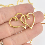 4 Gold Open Heart Charms, Double Heart, 35mm chs6697