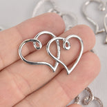 4 Silver Open Heart Charms, Double Heart, 35mm chs6698