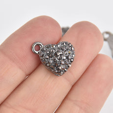 2 Black Rhinestone Heart Charms, pave gunmetal plated, chs6699