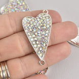 Rhinestone Heart Connector Charm, silver with AB crystals chs6700