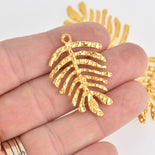 "4 Monstera Leaf Charms, Gold Hammered Metal, 1.5"" long, chs6709"