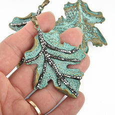"Green Verdigris Patina Leaf Pendant Charm with MICRO PAVE 2-3/4"" long chs6714"