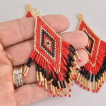 "1 Beaded Fringe Tassel Pendant, Miyuki Delica Seed Beads, Diamond Design, 3.5"" long, chs6724"