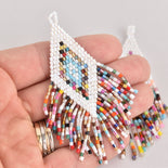 "1 Beaded Fringe Tassel Pendant, Miyuki Delica Seed Beads, Diamond Design, 3.5"" long, chs6725"