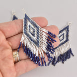 "1 Beaded Fringe Tassel Pendant, Miyuki Delica Seed Beads, Diamond Design, 3.5"" long, chs6726"
