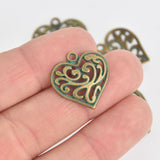 10 Bronze Heart Charms, Green Verdigris Patina, filigree heart design, 21mm, chs6728