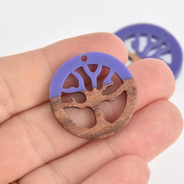 1 Tree Charm, Purple Resin and Real Wood, 28mm, chs6843