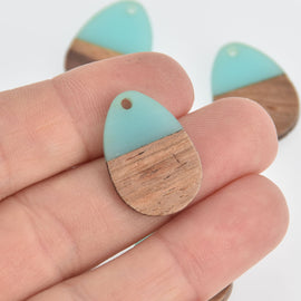 2 Teardrop Charms, Turquoise Blue Resin and Real Wood, 25mm long, chs6845