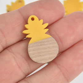 2 Pineapple Charms, Bright Yellow Resin and Real Wood Pineapple, 27mm long, chs6849