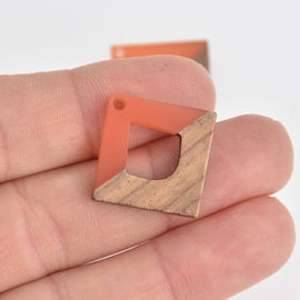 "1 Square Charm, Coral Orange Resin and Real Wood, 1"", chs6853"