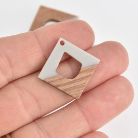 "1 Square Charm, Gray Resin and Real Wood, 1"", chs6854"