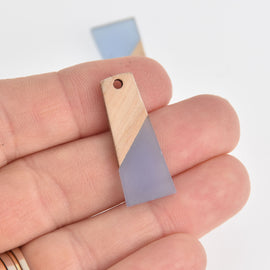 2 Colorblock Charms, Light Blue Resin and Real Wood Trapezoid, 30mm long, chs6855