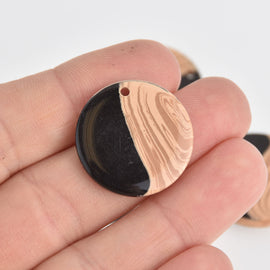 6 Round Charms, Black Resin and Faux Wood, 25mm, chs6860
