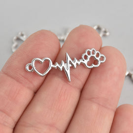 10 Silver Plated PET HEARTBEAT charms, two-hole connector dog cat animal bar charms chs6861