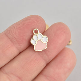 5 Pink Paw Print Charms, Gold with Enamel chs6864