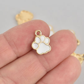 5 White Paw Print Charms, Gold with Enamel chs6865