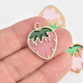 2 Pink Strawberry Fruit Charms Gold Plated Metal 27mm chs6866