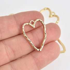 5 Gold Plated HEART Charms Hammered Metal, 26mm chs6876