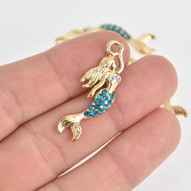 2 Mermaid Charms, Gold with Blue Crystals chs6877