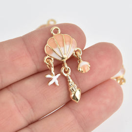 2 Beach Seashell Charms, Gold with Pink Enamel, moveable, chs6879