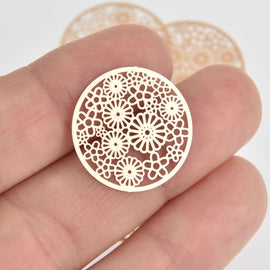 5 Gold Filigree Round Circle Charm Pendants, Connectors 23mm Chs6880