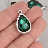 Green Rhinestone Drop Charm, Teardrop Crystal Glass in Silver Tone Bezel, 27x17mm, chs7024