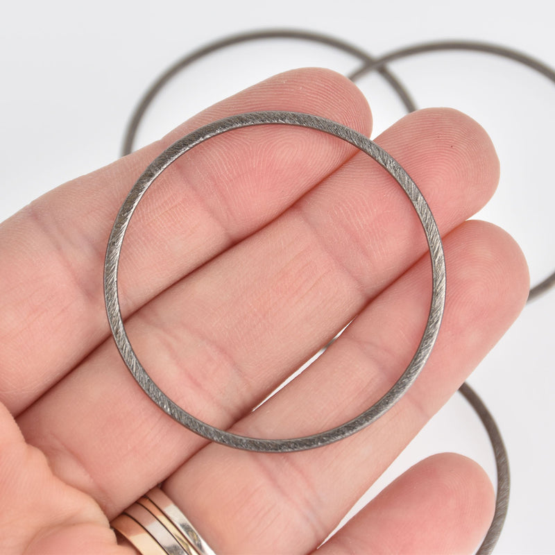 "2 Gunmetal Ring Connector Charms, Brushed metal circle links 1-3/4"" chs7080"