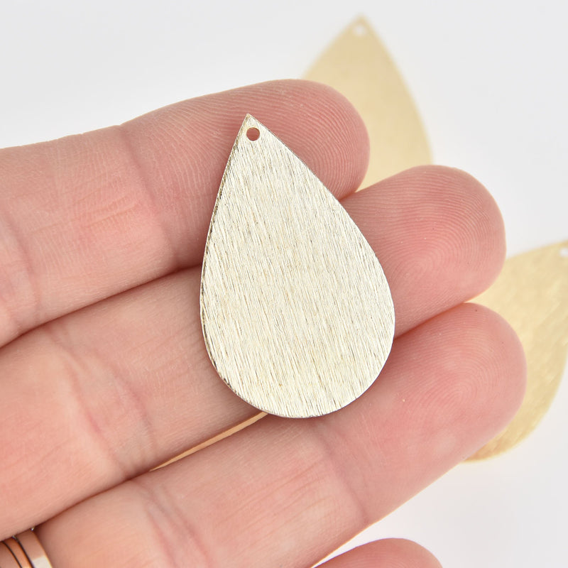 2 Gold Teardrop Charms Brushed Texture 34mm chs7087