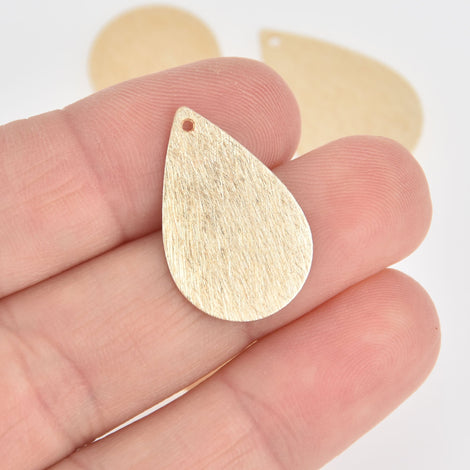 2 Gold Teardrop Charms Brushed Texture 26mm chs7088