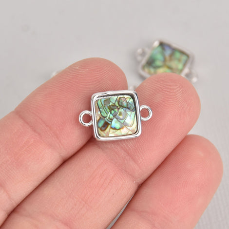 ABALONE SHELL Connector Charm, Square with silver bail 17x11mm chs7094