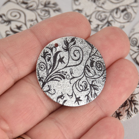 5 Black Floral Charms, Silver Stardust Circle with Enamel, 30mm, chs7119