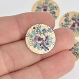 5 Purple Pansy Charms, Gold Circle with Enamel chs7120