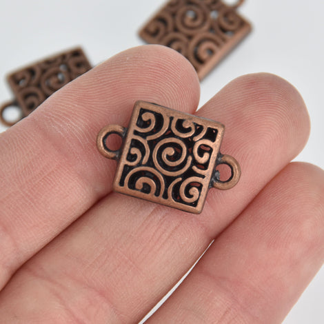 6 Copper Filigree Charms, Square Connector Links, 23mm, chs7122