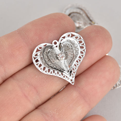 5 Silver Filigree Heart Charms, Crystal 3D Charms, 26mm, chs7124