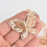 2 Gold Filigree Butterfly Charms, Crystal 3D Charms, 51mm, chs7159