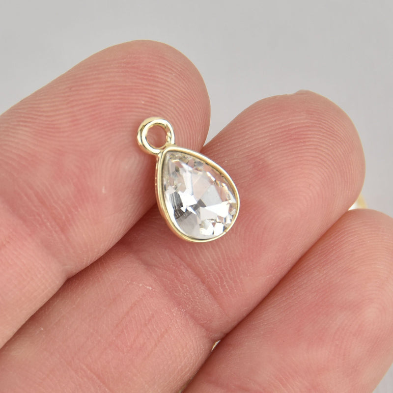 10 Clear Crystal Drop Charms, Teardrop with Gold Plate, chs7171