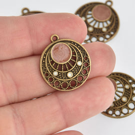 5 Bronze Filigree Charms, Enamel, chs7172