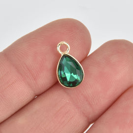 10 Green Crystal Drop Charms, Teardrop with Gold Plate, chs7174