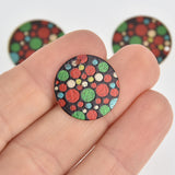 5 Polka Dot Charms, Gold Circle with Enamel, 20mm, chs7182
