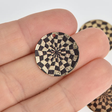 5 Black Geometric Charms, Gold Circle with Enamel, 20mm, chs7185
