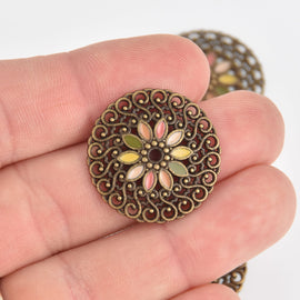 5 Bronze Filigree Charms, Enamel, chs7194
