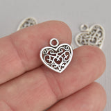 10 Silver Filigree Heart Charms, 15mm, chs7197