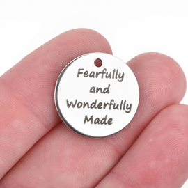 "5 GODLY WOMAN Charms, Silver Stainless Steel Quote Charms, Fearfully and wonderfully made Charms, 20mm (3/4""), cls0138a"