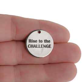 "5 ""Rise to the CHALLENGE"" Stainless Steel Quote Charms, Silver Charms, 20mm (3/4""), choose quantity, cls0236a"