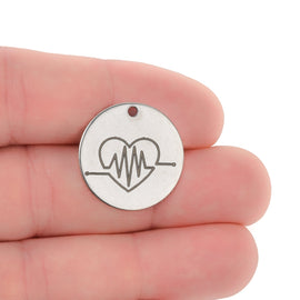 "5 Open Heartbeat Charms, Stainless Steel Quote Charms, Nursing ECG Charms, EKG Charms, 20mm (3/4""), cls0255a"