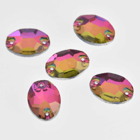 20 Crystals, Northern Lights Vitrail, Oval Faceted Flat Back, Sew On, 18mm x 13mm, Cabochons, cry0202