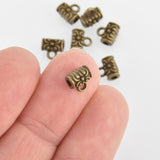 20 Bronze Filigree Bail Beads, Tube Beads, 7mm, Fba0078